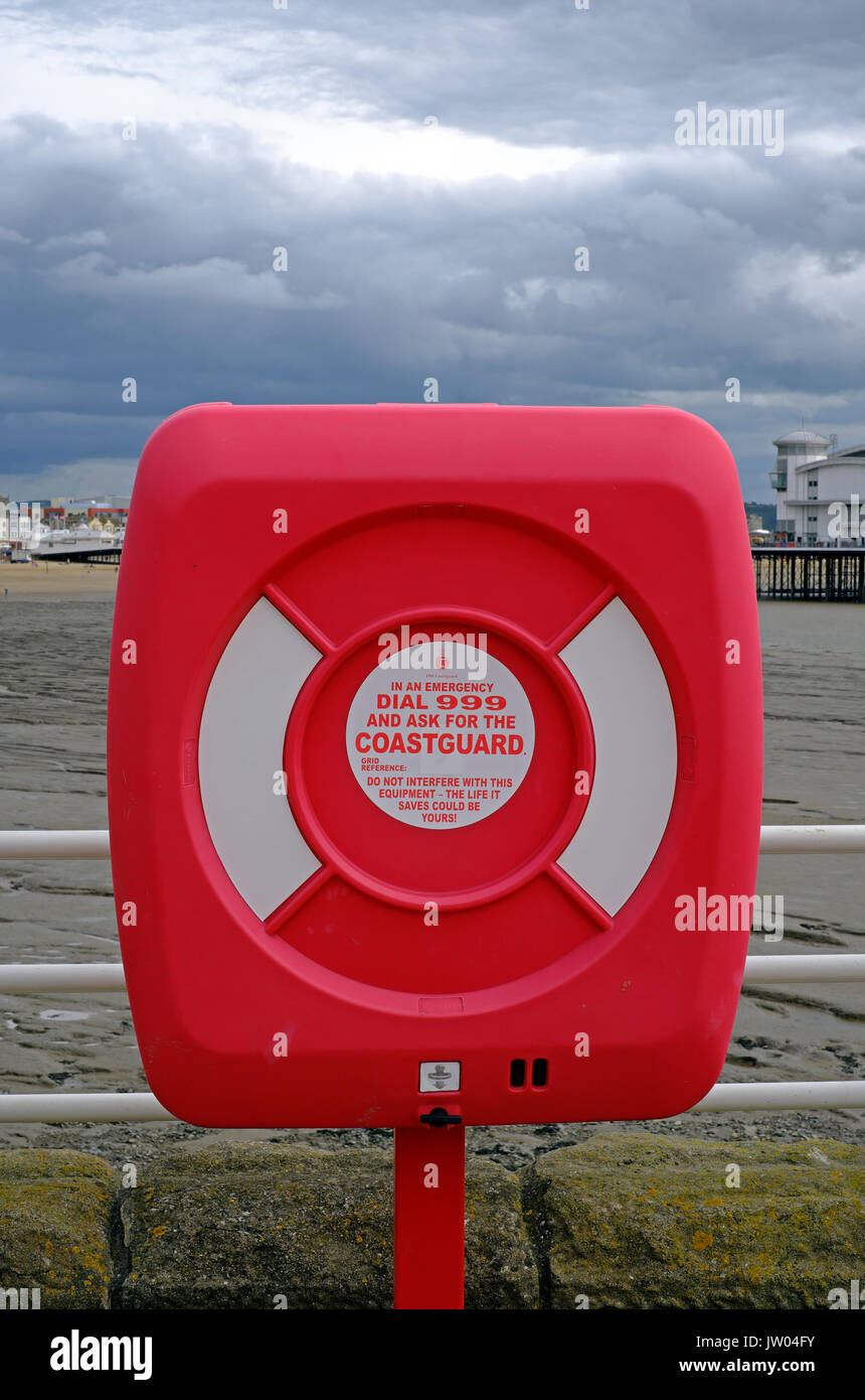 A lifebelt on Knightstone Island in Weston-super-Mare, UK - Stock Image
