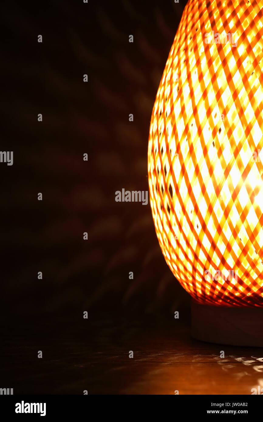 Nice Wicker Glowing Desk Lamp Closeup On Dark Background Stock Photo Alamy