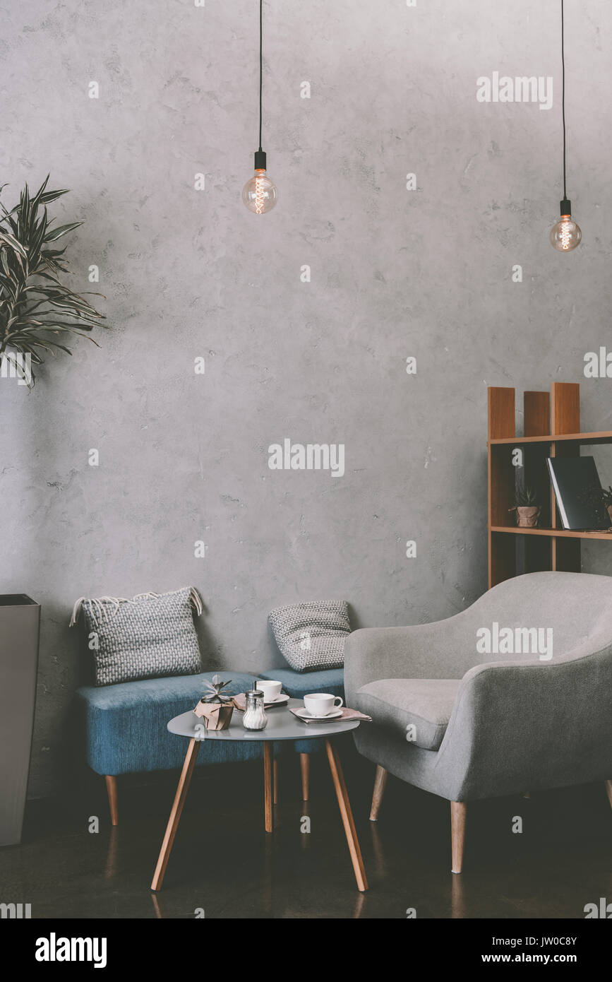 Bon Interior Of Modern Cozy Cafe With Armchair, Table And ...