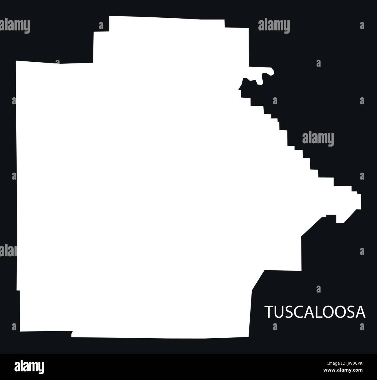 Tuscaloosa county map of Alabama USA black inverted illustration - Stock Image