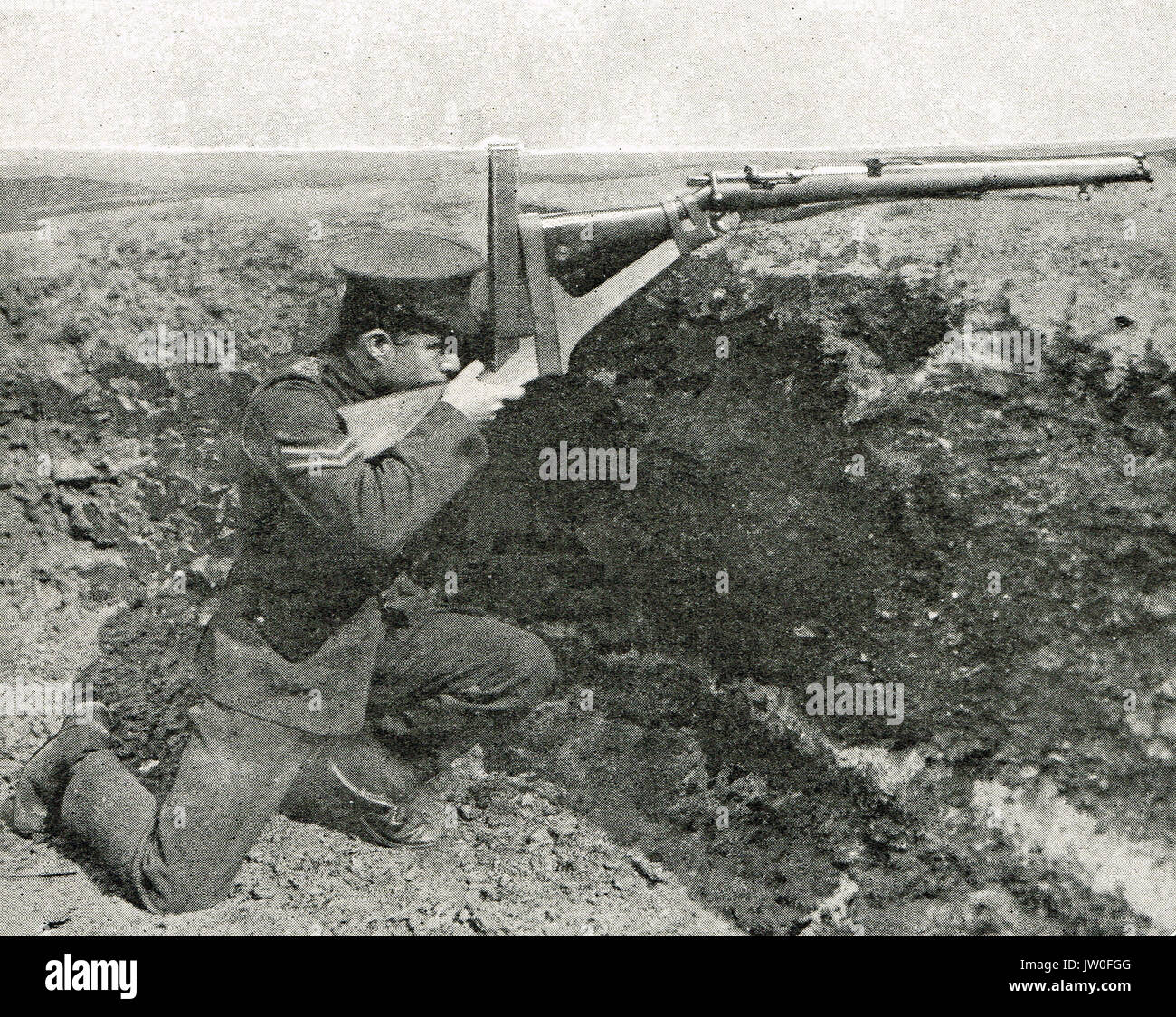 Defensive trench war, a periscope rifle, WW1 - Stock Image