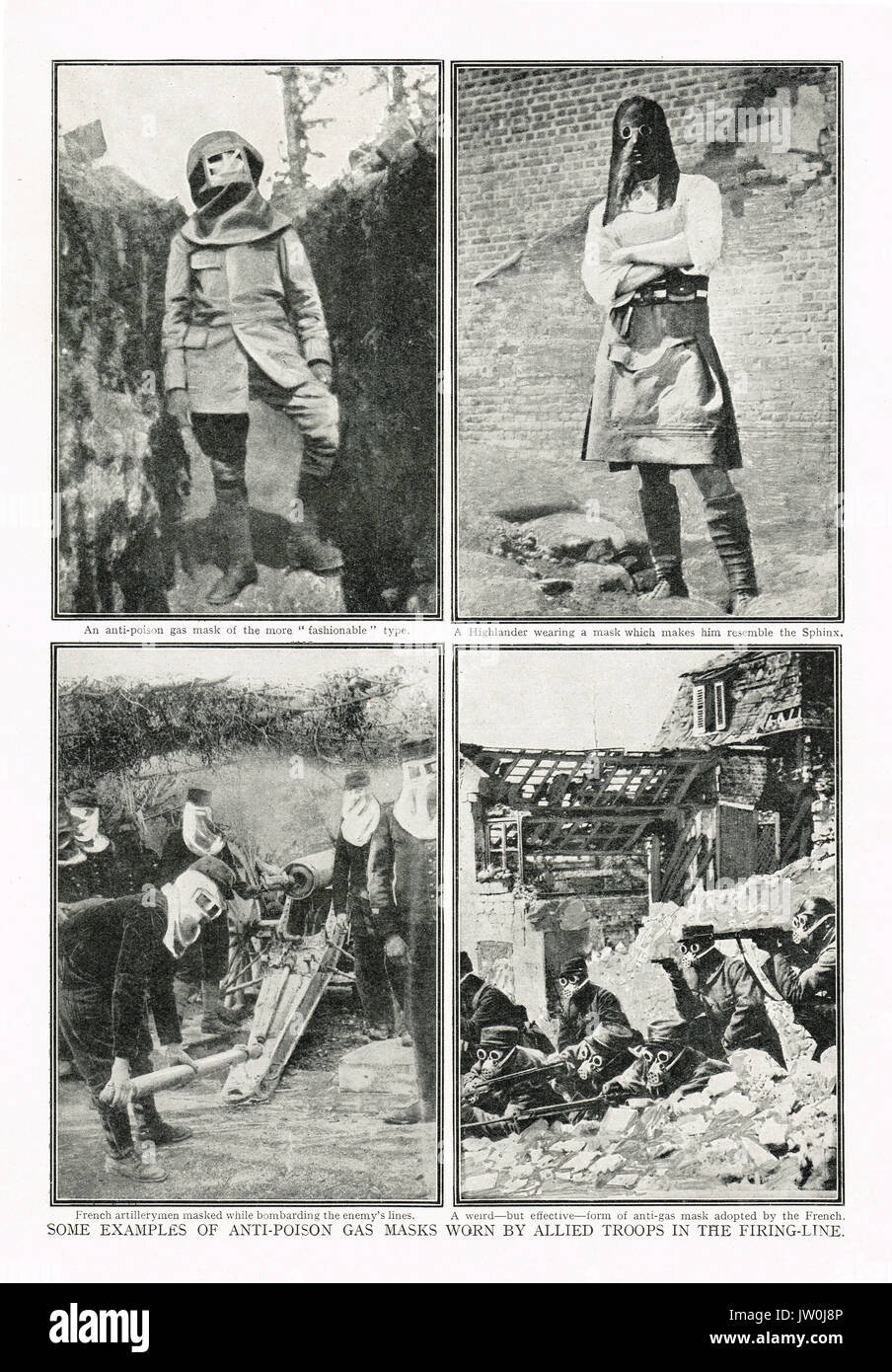 Examples of world war 1 gas masks in use - Stock Image
