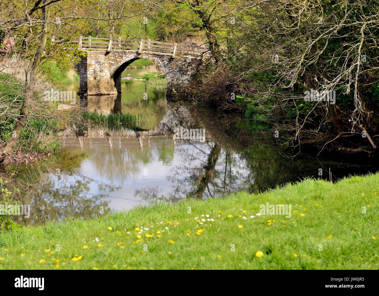The packhorse bridge over the river Frome at Tellisford spans the county boundary between Wiltshire and Somerset. Stock Photo