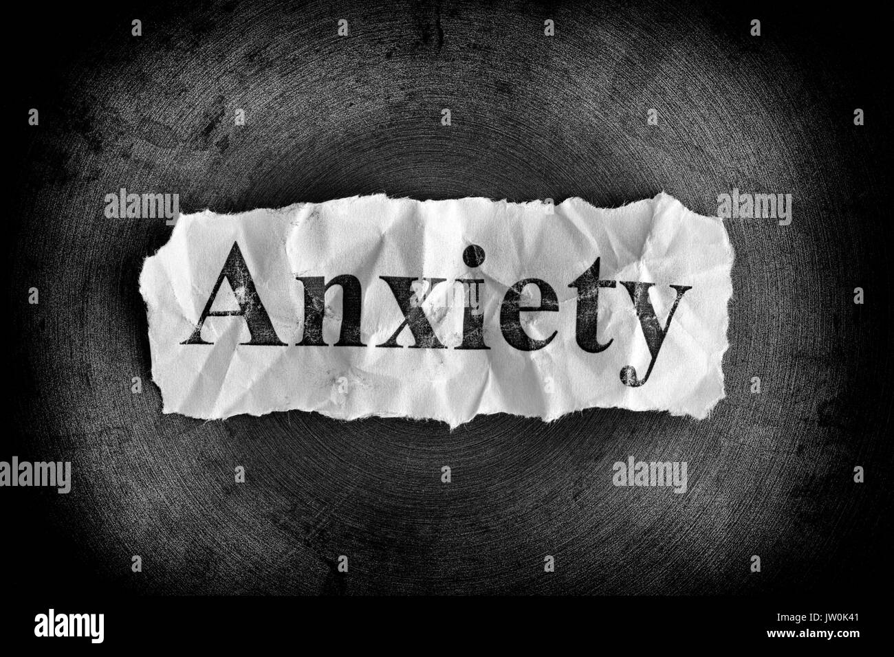 Piece Of Paper With Word Anxiety Black And White Stock Photo Alamy