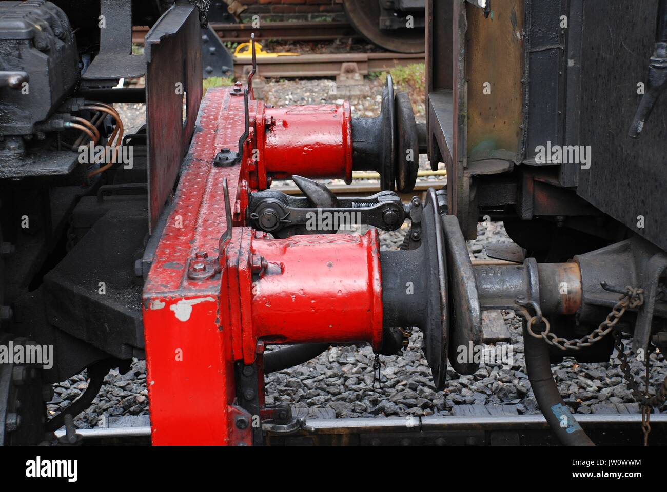 The buffers and couplings of Southern railway 0-6-0T USA class steam locomotive number 65 at Tenterden station on the Kent and East Sussex Railway. - Stock Image