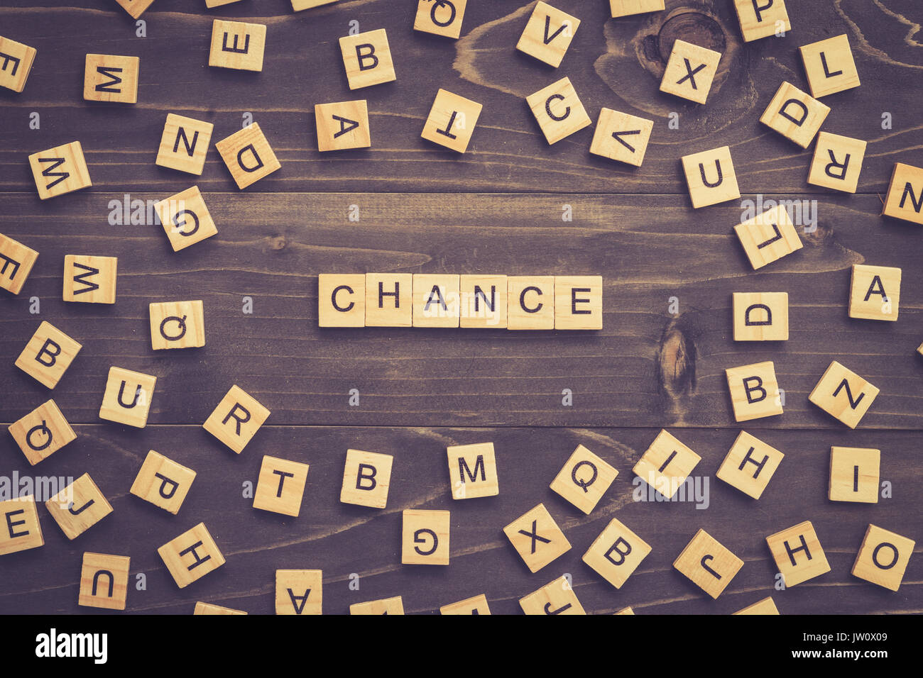 Chance word wood block on table for business concept. - Stock Image