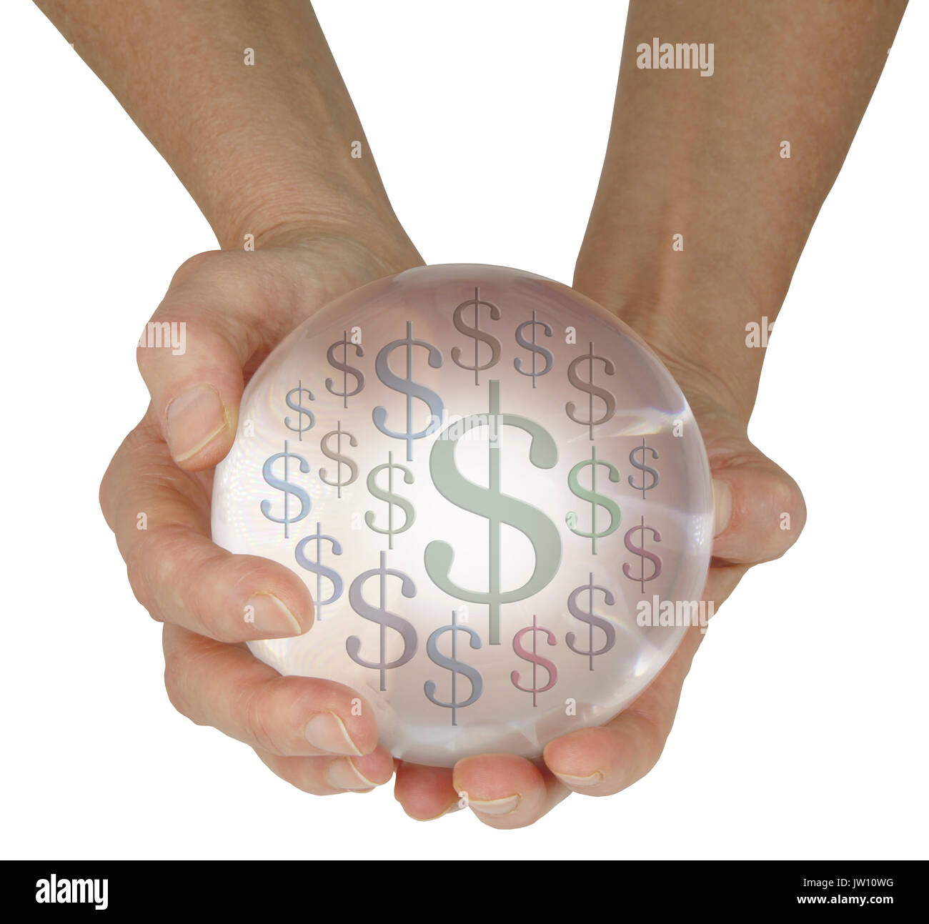 Predicting money in the future - female hands holding large crystal ball showing differently sized dollar $ signs isolated on a white background - Stock Image