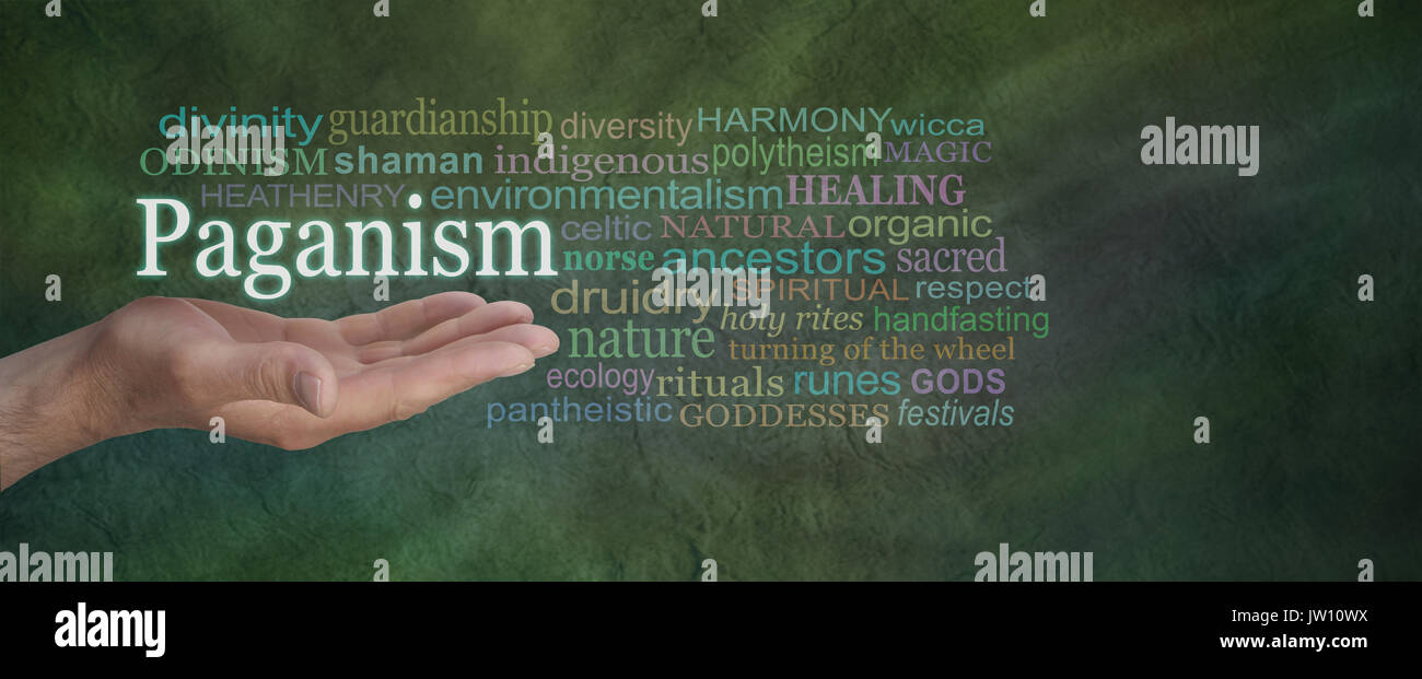 Paganism Word Cloud - Male hand outstretched on a green stone effect background with the word PAGANISM above surrounded by a relevant word cloud - Stock Image