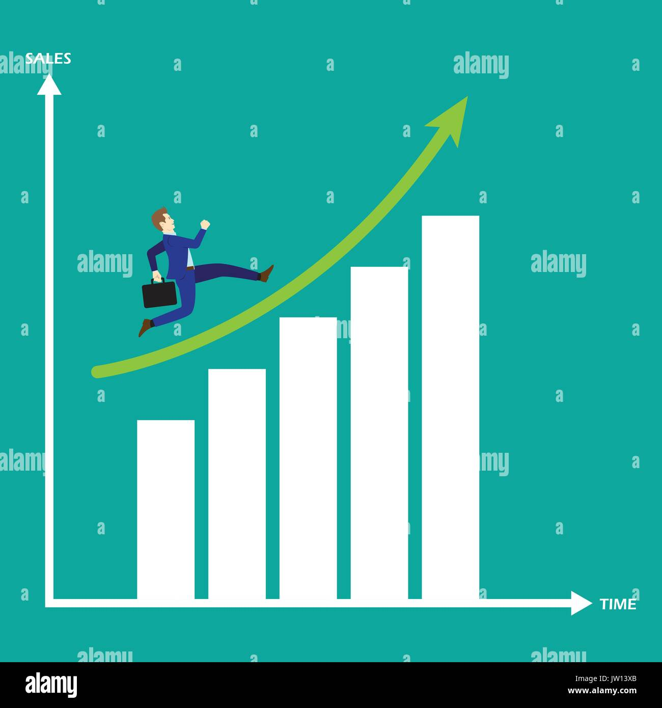 Business Concept As A Businessman Is Running On Growth Bar Graph. He Enjoys The New Opportunity Growth. Higher Sales Stock Vector