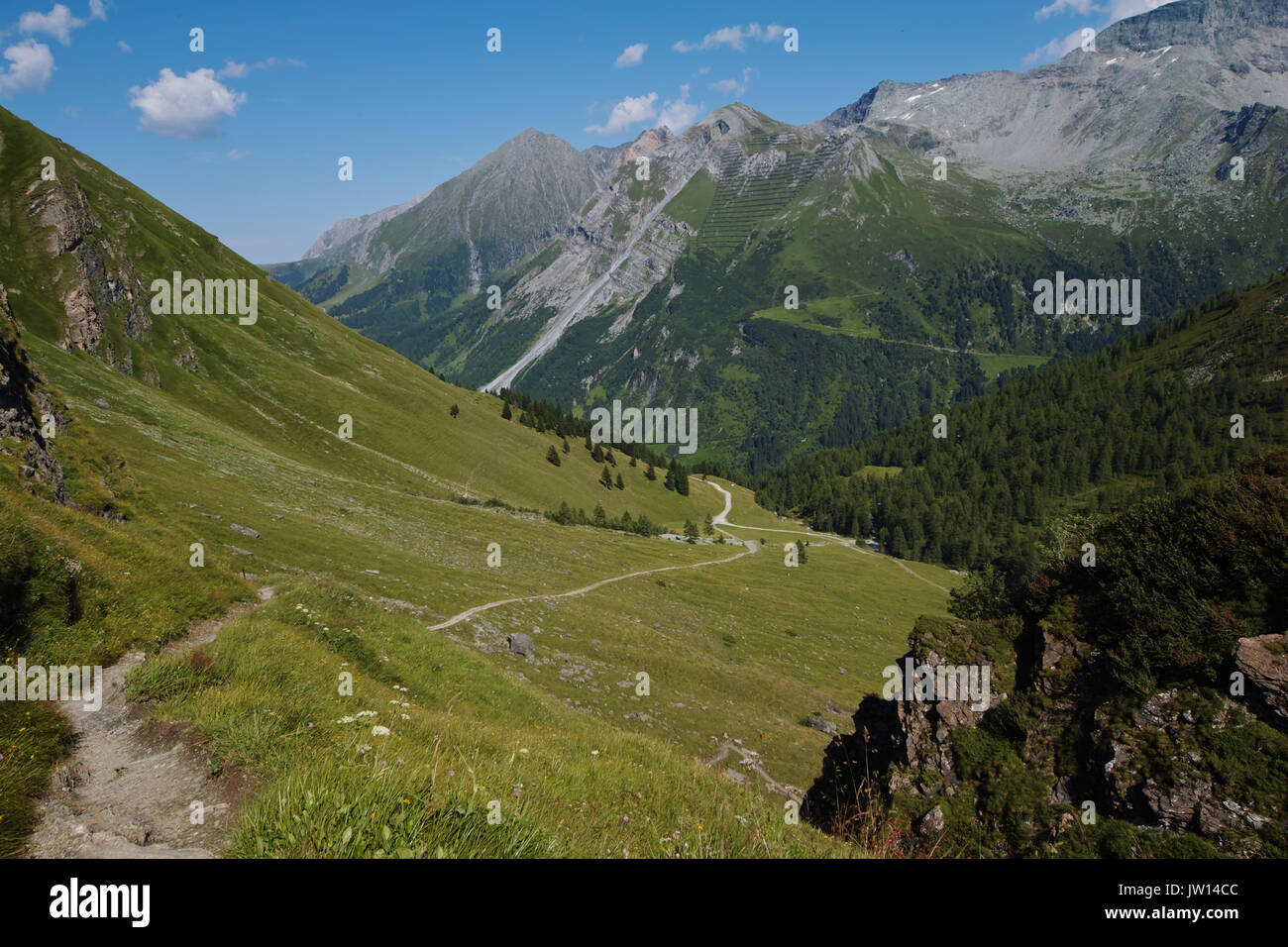Austrian Alps-outlook on Tuxer Joch Weitental - Stock Image