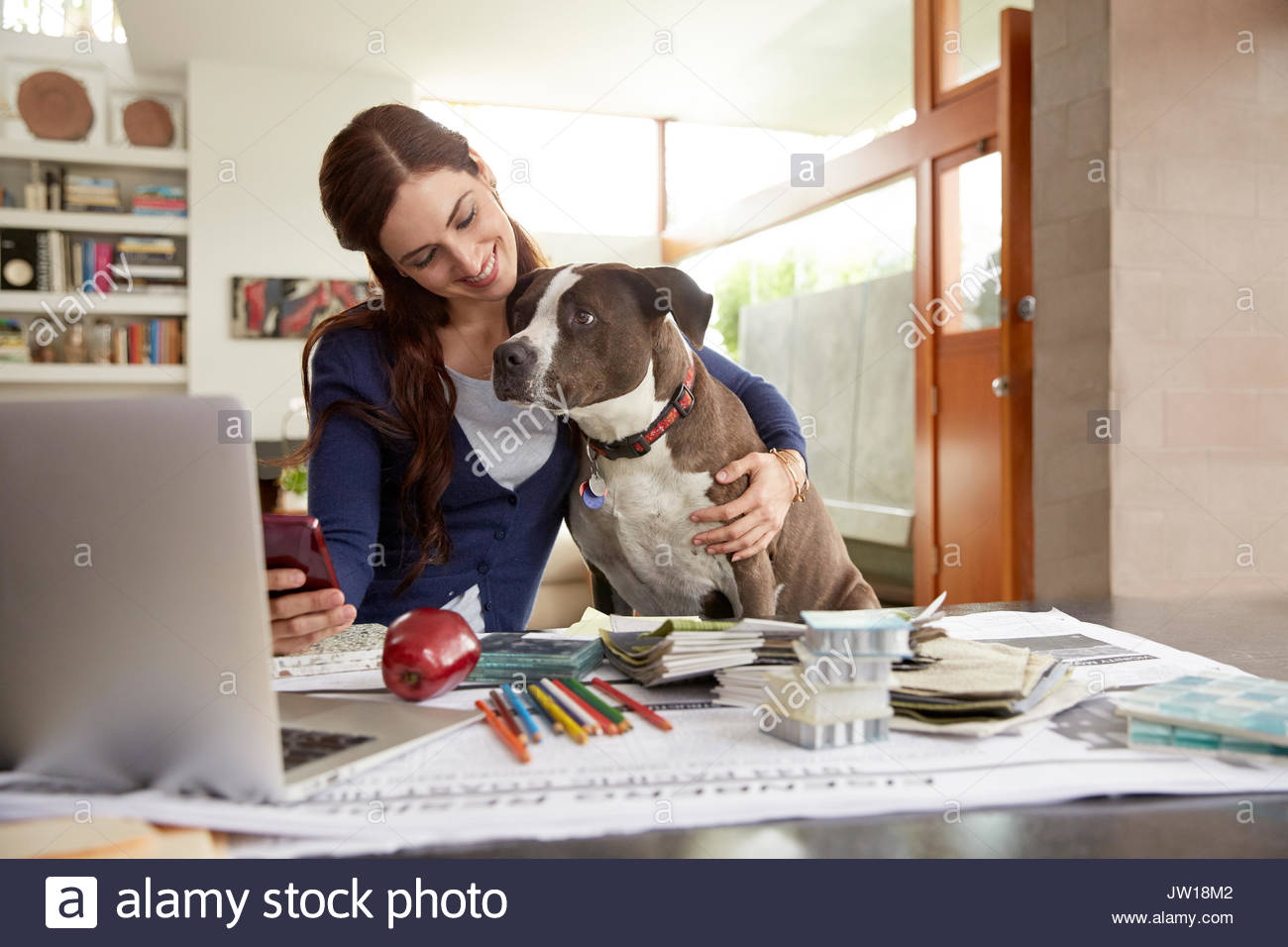 Female interior designer petting dog at desk in home office - Stock Image