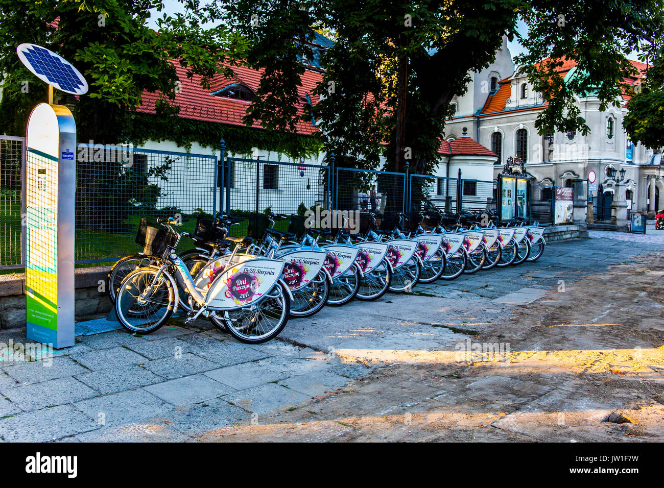 Bicycles in a row prepared for rent near the square in Pszczyna, Poland. Stock Photo
