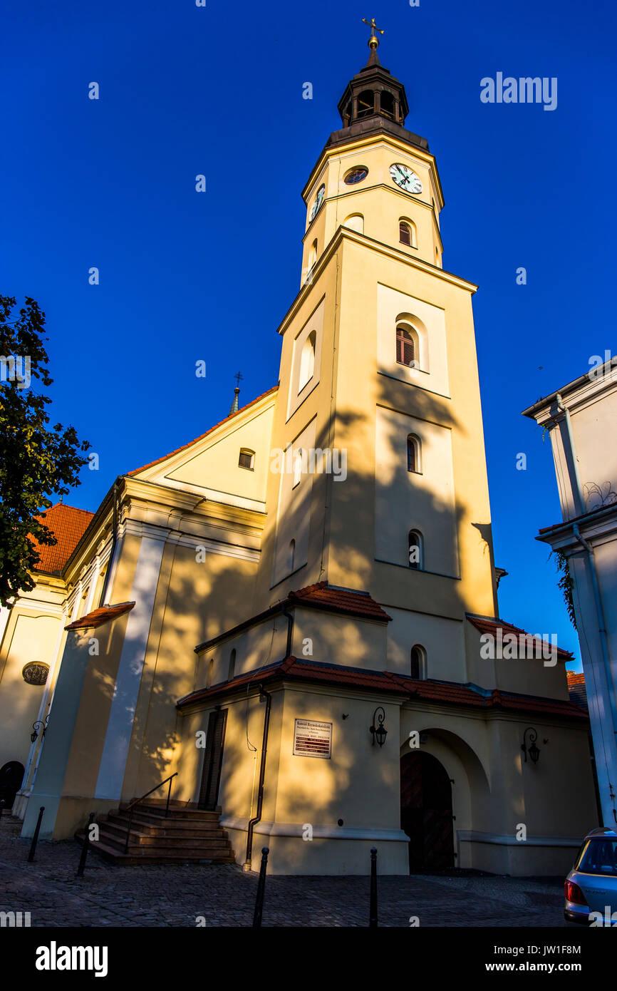 Catholic church of all saints (Wszystkich Św. i Matki Bożej Różańcowej) in Pless - Pszczyna, Poland. - Stock Image
