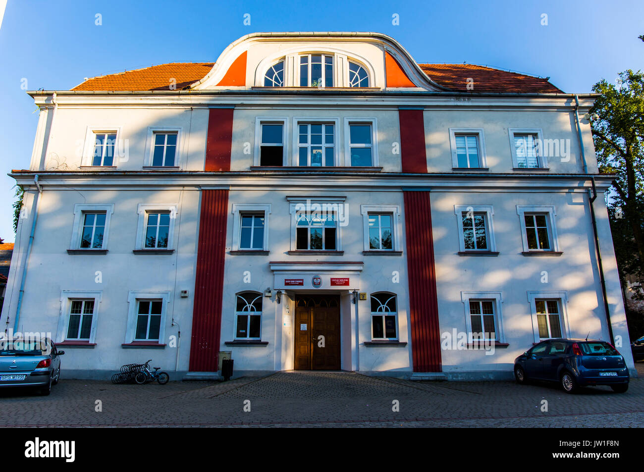 Front view at the town hall in Pszczyna (Pless), Poland. Stock Photo