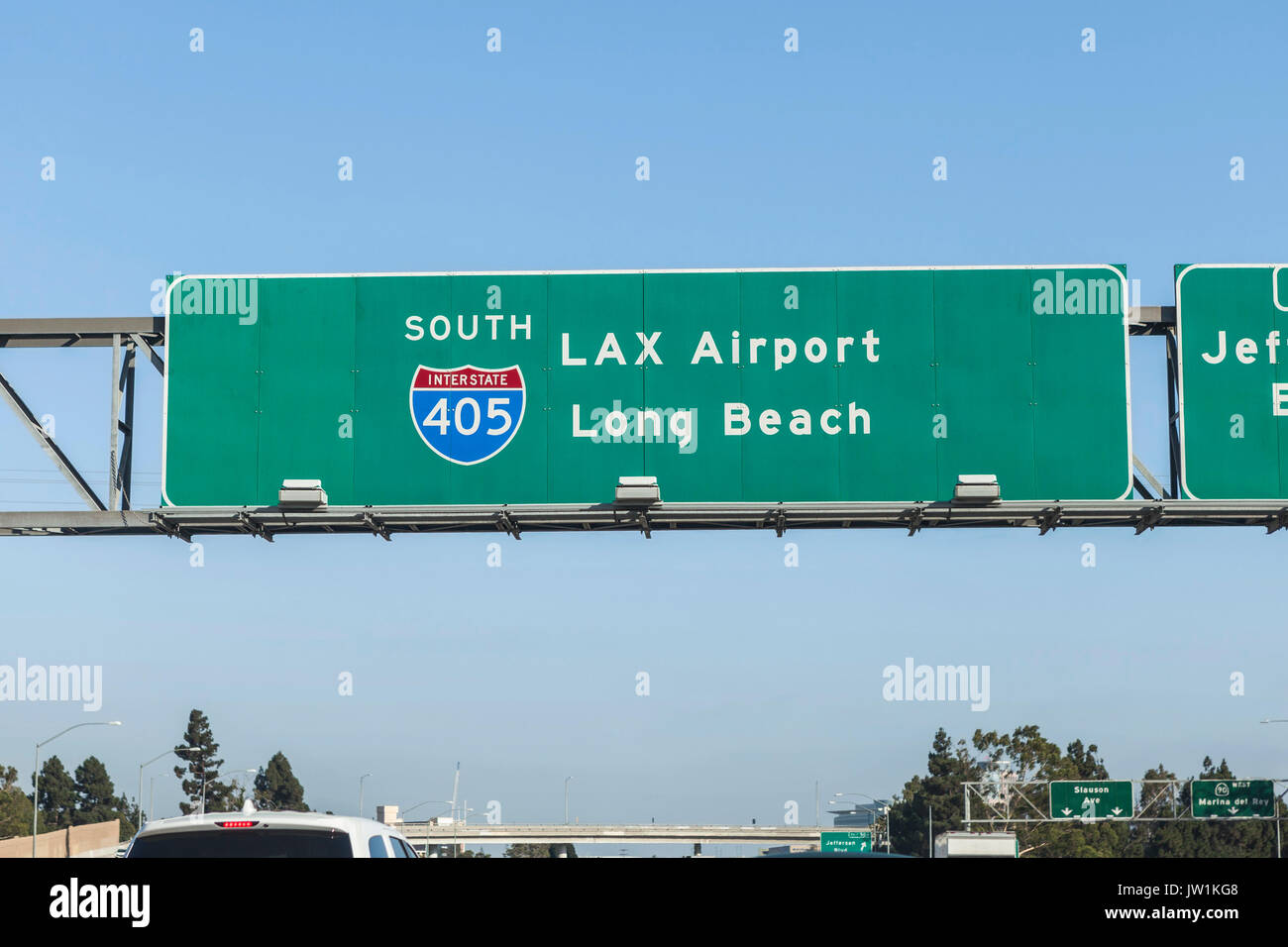 LAX Airport and Long Beach overhead freeway sign on Interstate 405 in Los Angeles, California. - Stock Image