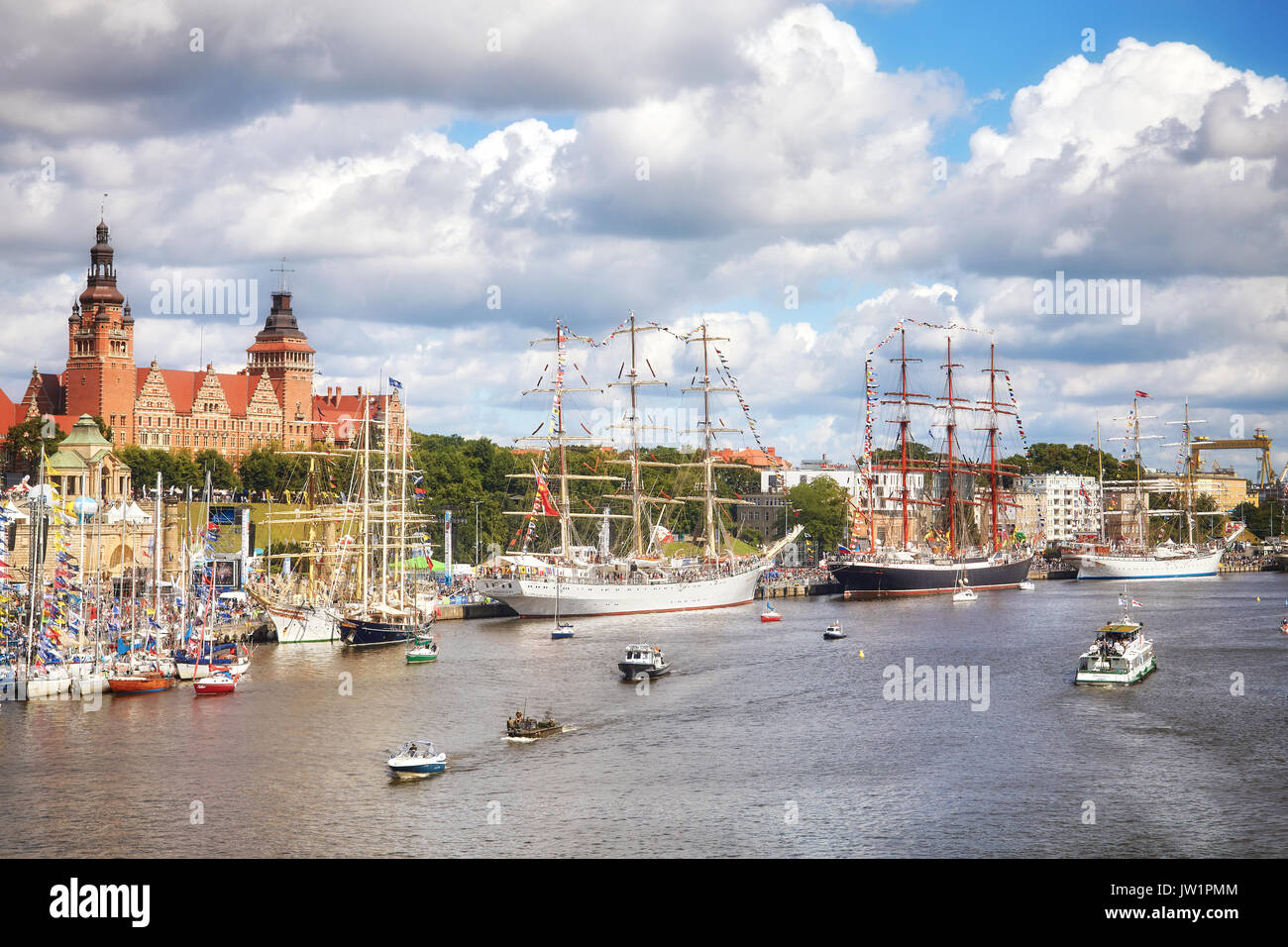 Szczecin, Poland - August 06, 2017: Sailing vessels anchored at Chrobry Embankment during Final of The Tall Ships Races 2017. - Stock Image
