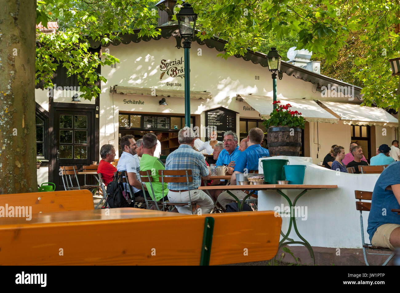 Spezial Keller Beer Garden In Bamberg Franconia Bavaria Germany Stock Photo Alamy