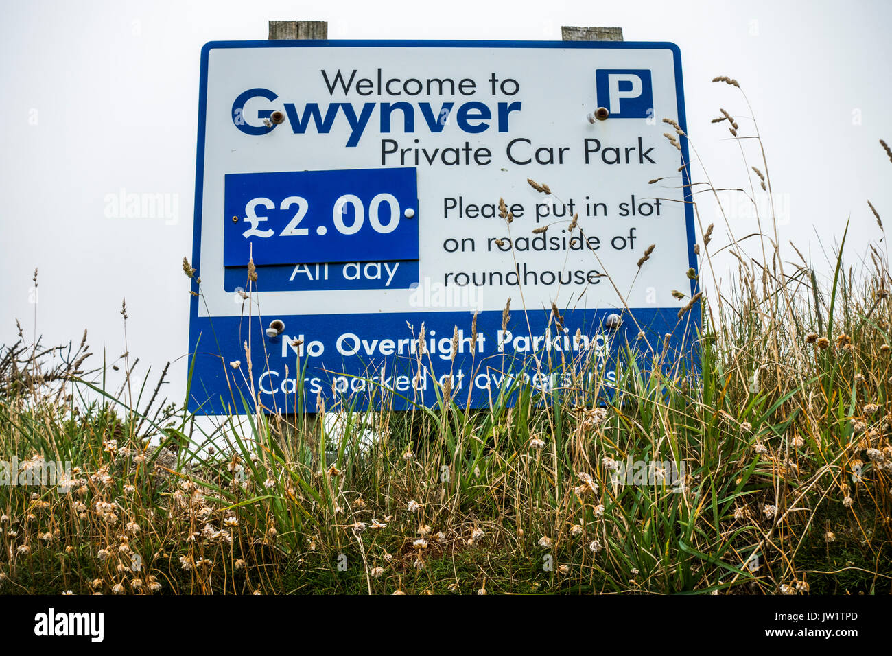 Sign for Gwynver private car park (near to Gwynver beach), Sennen, Cornwall, England, UK. Stock Photo