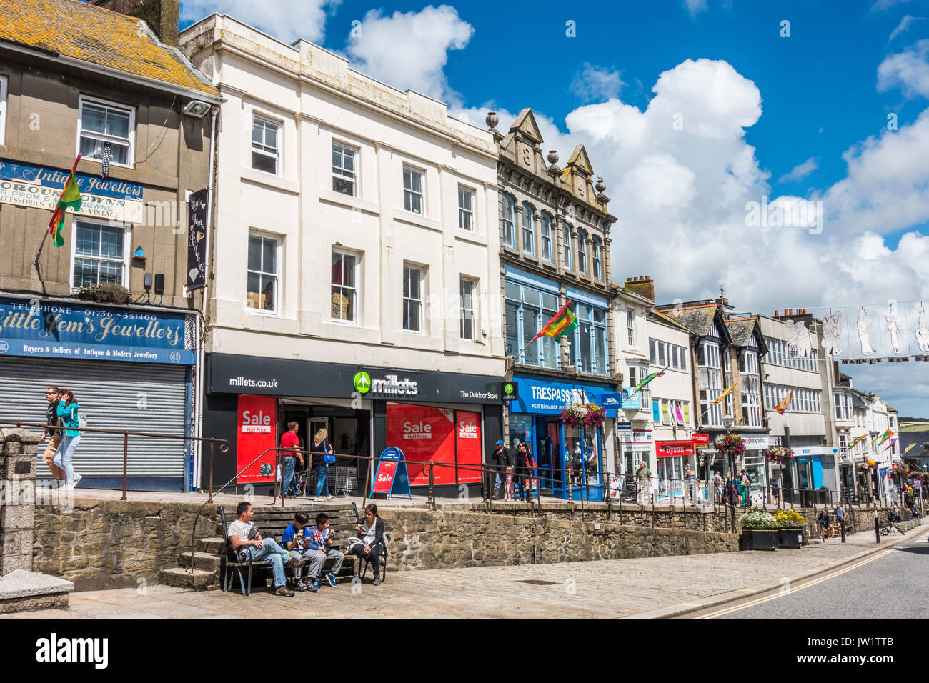 Extensive shopping facilities in Market Jew Street in the centre of Penzance, Cornwall, England, UK. - Stock Image