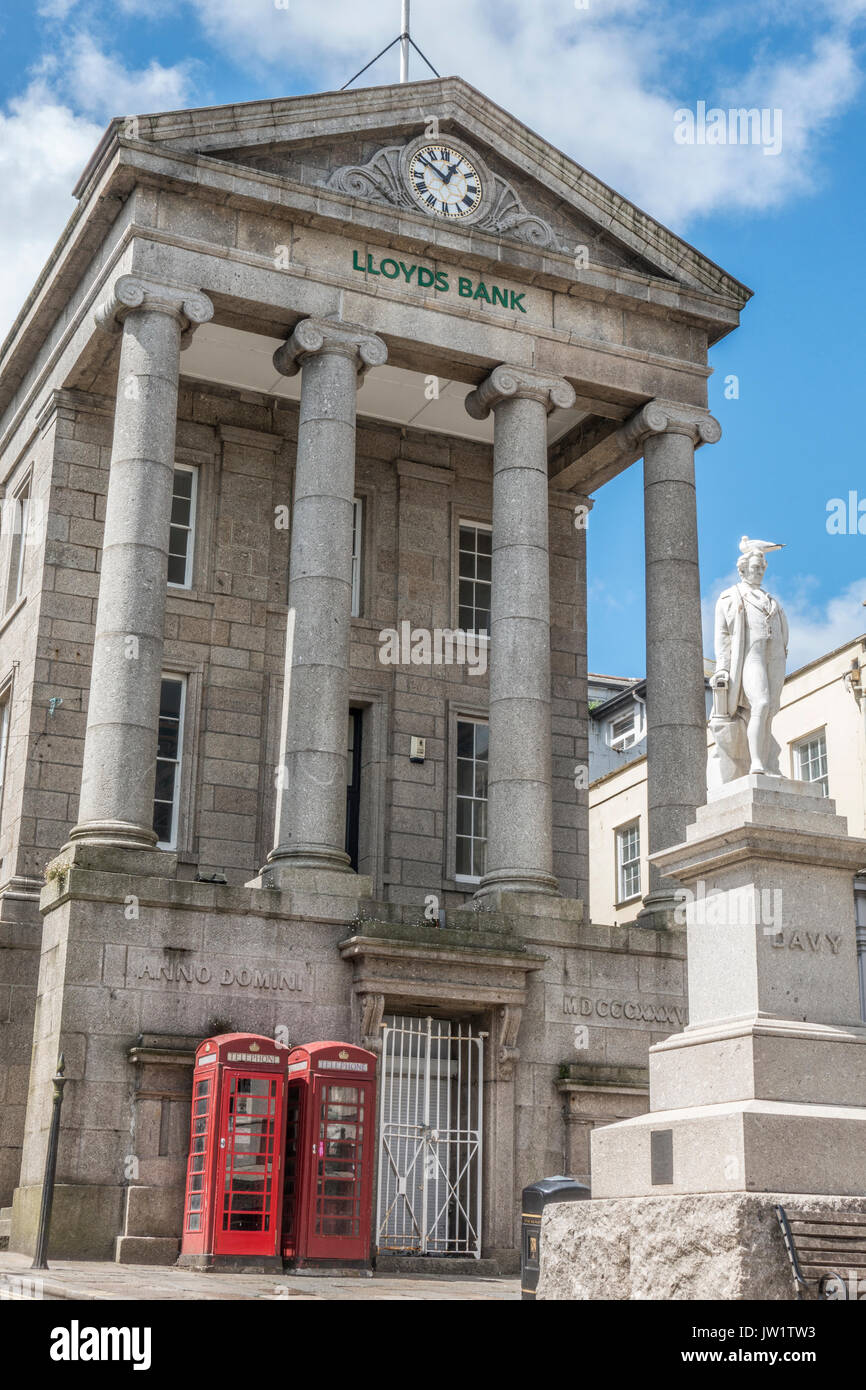 The historic Grade 1 listed Market House (occupied by LLoyds Bank), Market Jew Street in the centre of Penzance, Cornwall, England, UK. - Stock Image