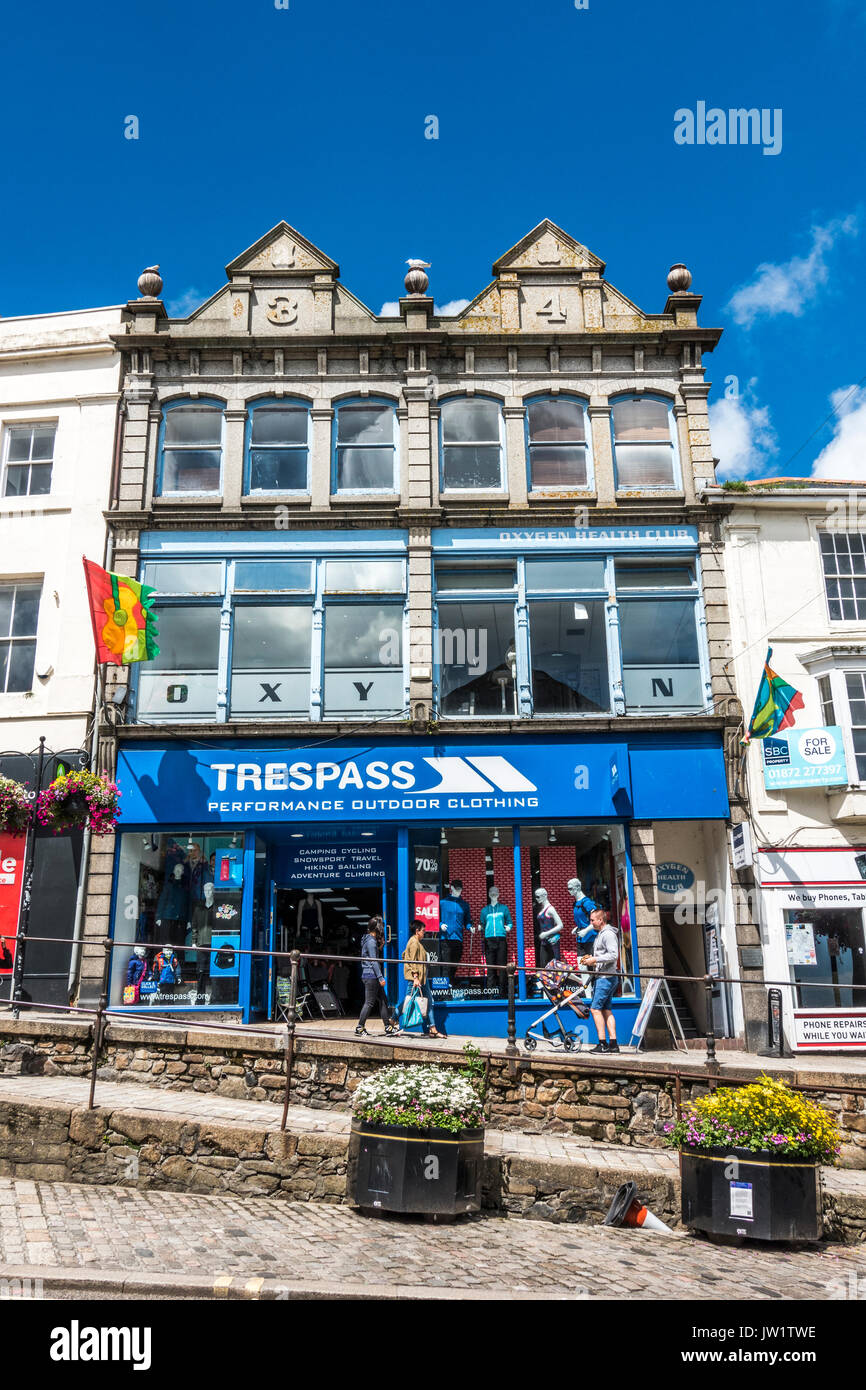 Performance outdoor clothing shop in Market Jew Street in the centre of Penzance, Cornwall, England, UK. - Stock Image