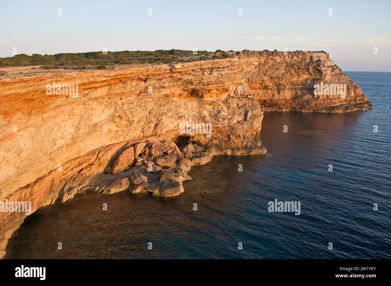 Dusk at Racó Alt cliffs at Formentera (Balearic Islands, Spain) - Stock Image