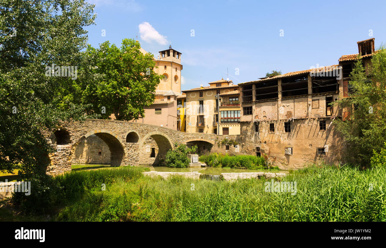 Old stone bridge and Cathedral in Vic. Catalonia - Stock Image