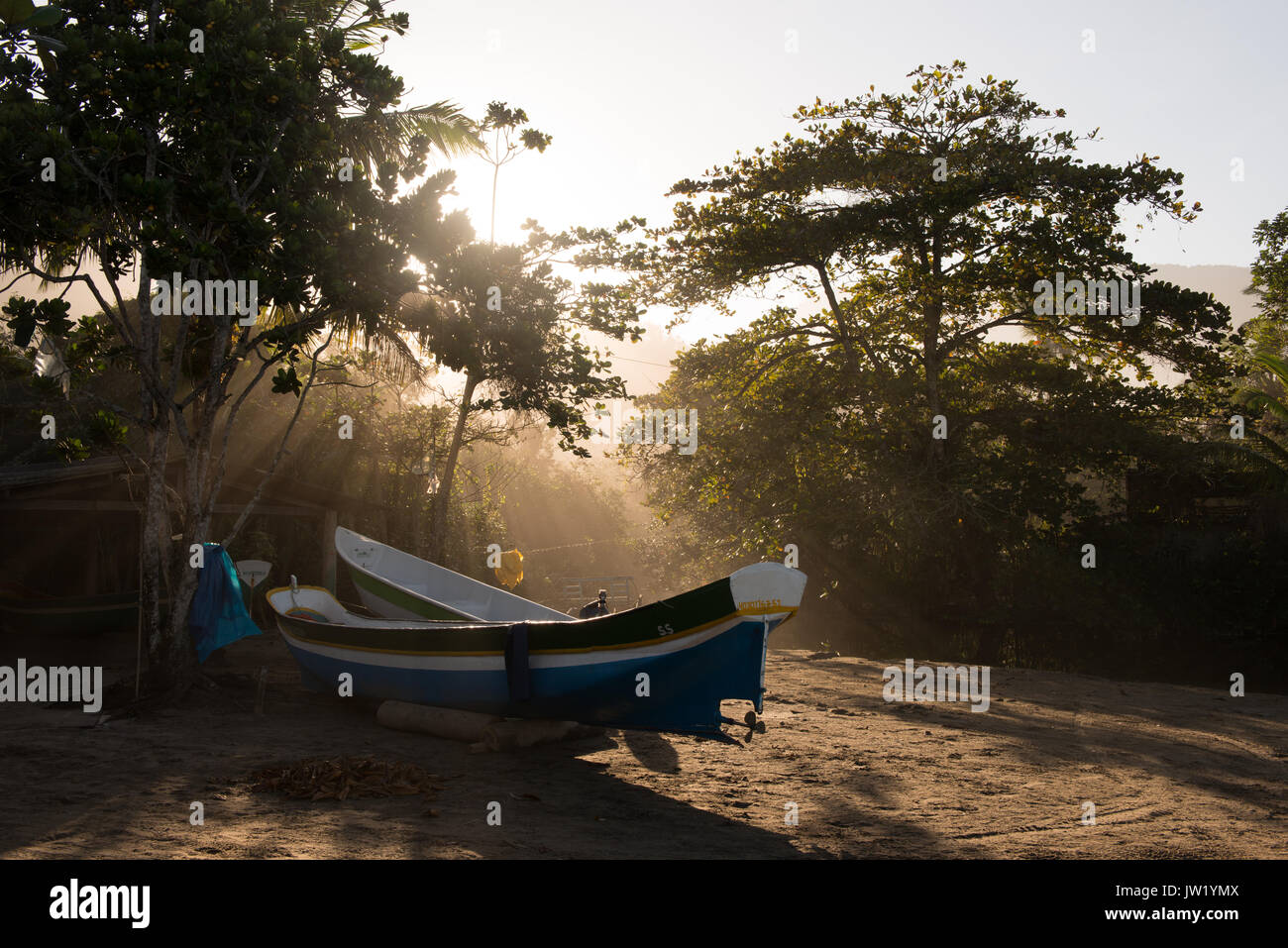 Fishing canoes in Castelhanos, Ilhabela, Brazil Stock Photo
