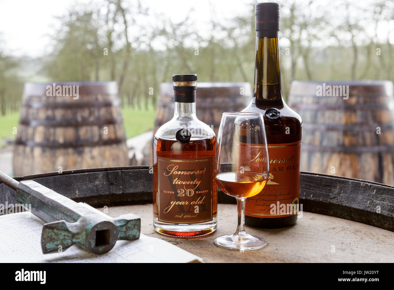 Somerset Cider Brandy, Somerset, UK.  20 year old Somerset Brandy bottle and glass - Stock Image
