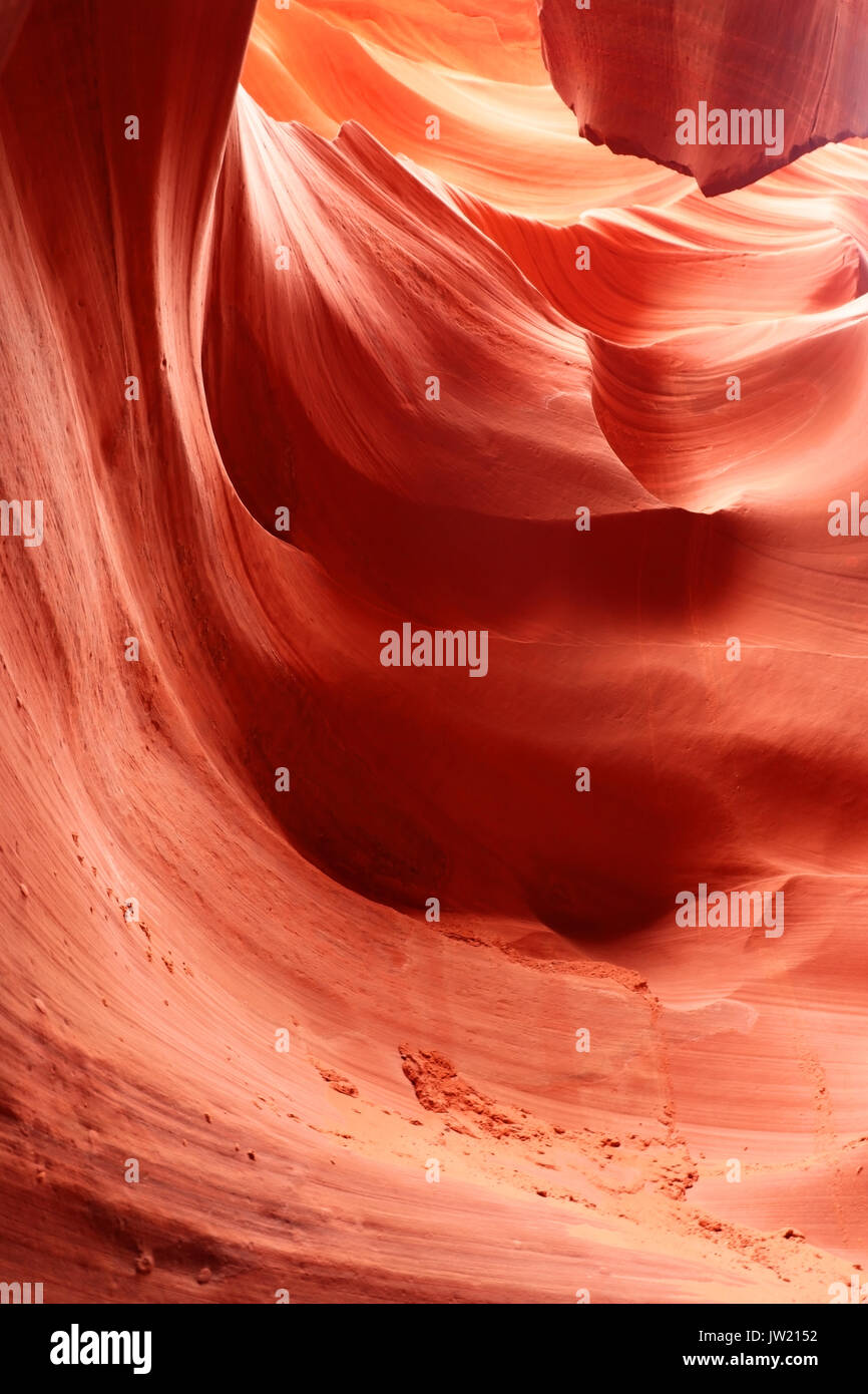 Swirls of old red  sandstone wall abstract pattern in Lower Antelope Canyon, Page, Arizona, USA. Stock Photo