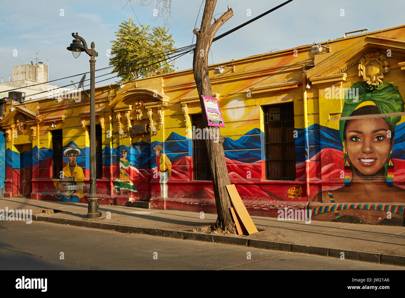 Mural, Bellavista, Santiago, Chile, South America - Stock Image