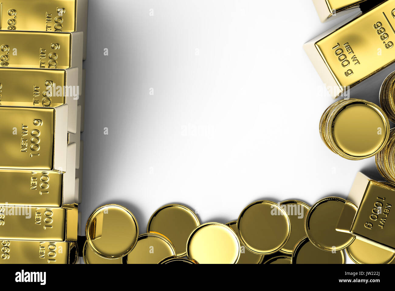 gold coins and gold bars with blank space stock photo 153094890 alamy