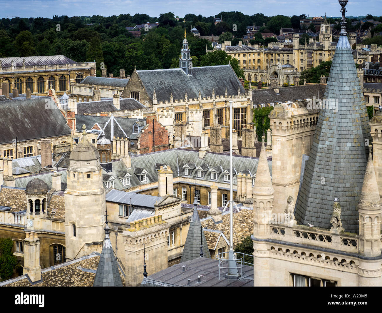 Cambridge Cityscape Skyline - Trinity College St John's College Gonville and Caius College - classical Cambridge rooftops - Stock Image