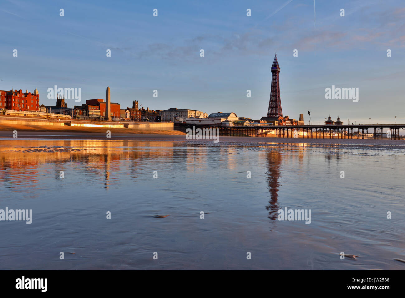 Blackpool; Tower; Shore; Lancashire; UK - Stock Image