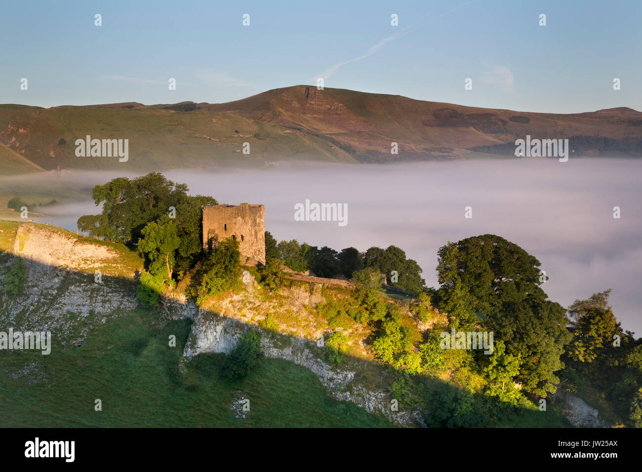 Cave Dale; Misty Morning; View of Lose Hill:  Derbyshire; UK - Stock Image