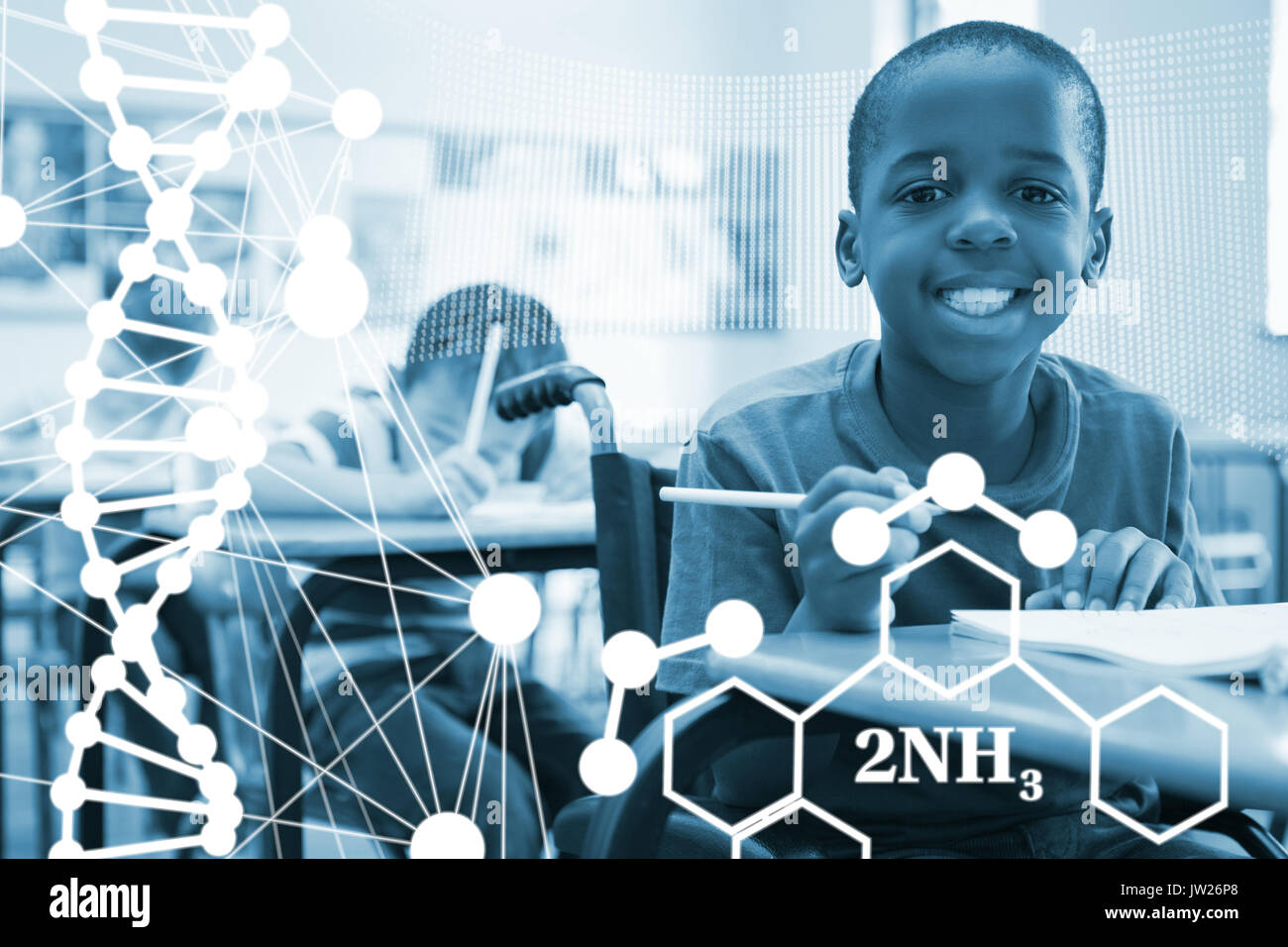 DNA helix structure against white background against disabled pupil smiling at camera in classroom - Stock Image
