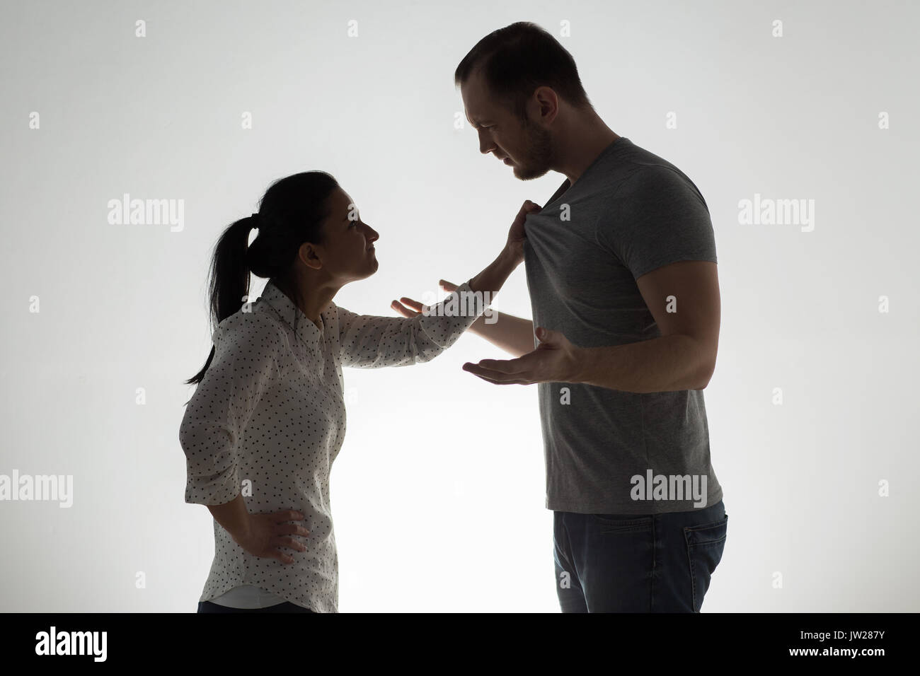 angry couple having argument - Stock Image