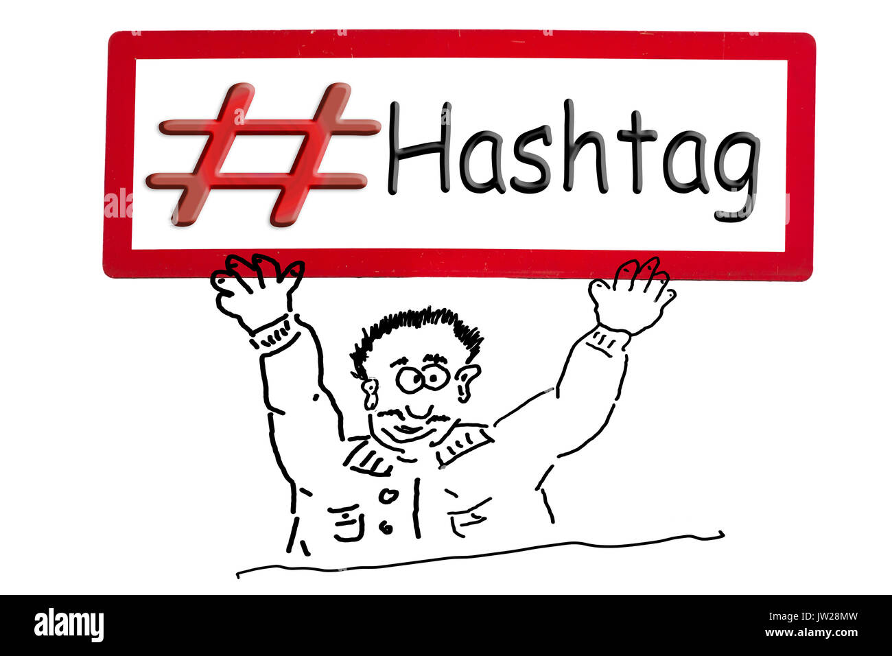 Hand drawing of an advertising figure, comic figure or stroke drawing. Cartoon character holding a sign above his head with inscription # hashtag. - Stock Image