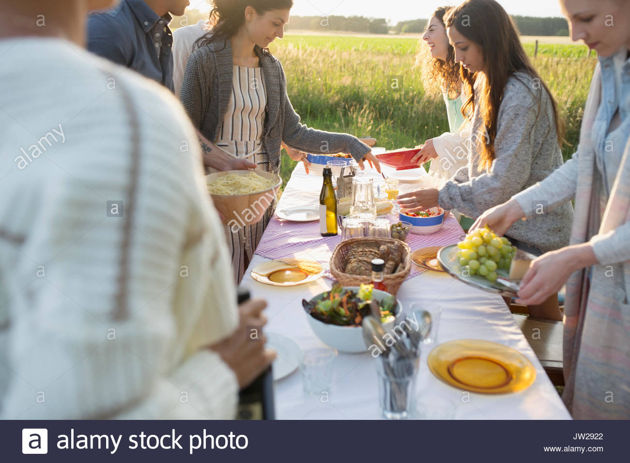 Friends setting the table for garden party dinner in rural summer yard - Stock Image