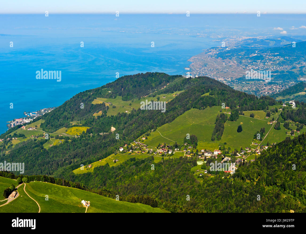 View from Pass Col de Jaman over Les Avants and Lake Geneva near Vevey, Vaud, Switzerland - Stock Image