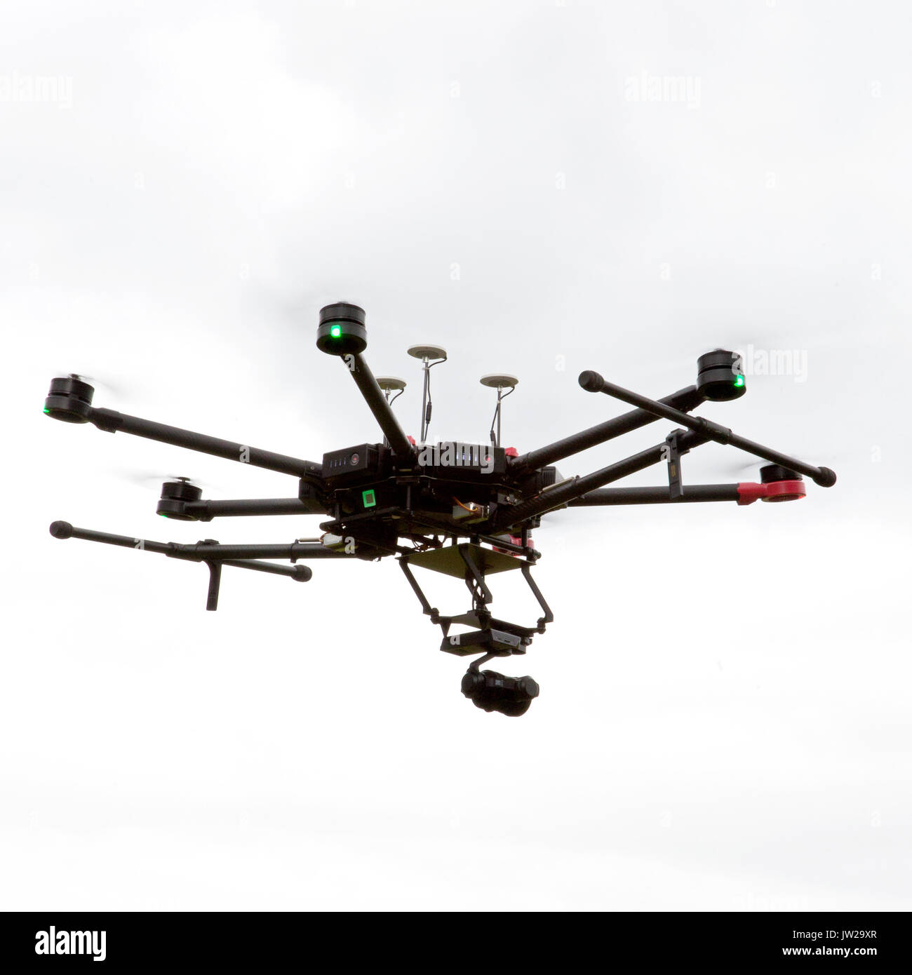 Drone Pilot Preparing and flying a drone / UAV Stock Photo