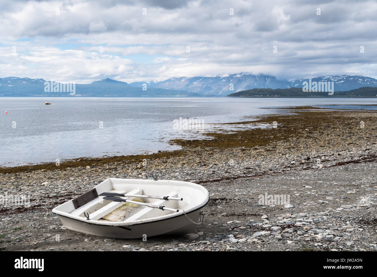 Small white boat with paddles on land - Stock Image
