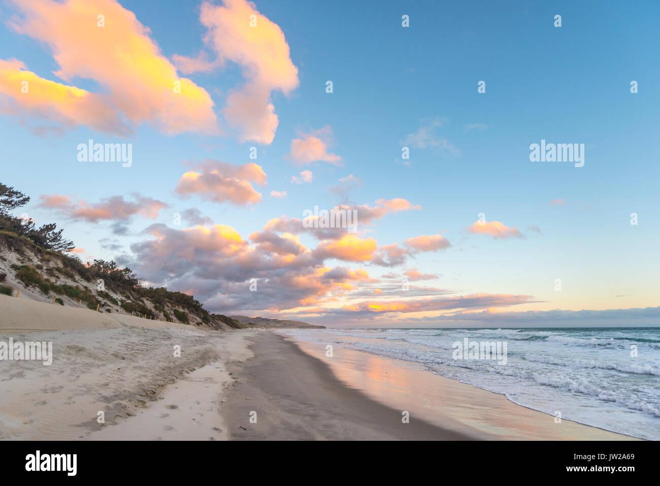 St. Clairs Beach, sunset on the beach, Otago, South Island, New Zealand - Stock Image