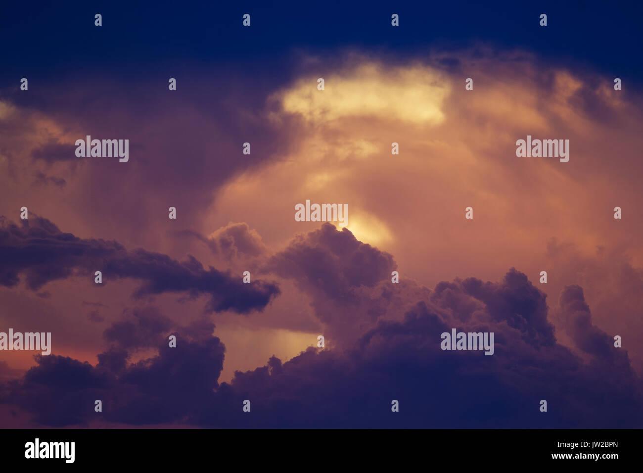 Cumulonimbus clouds in the evening, rainy season, Kalahari Desert, Kgalagadi Transfrontier Park, South Africa - Stock Image