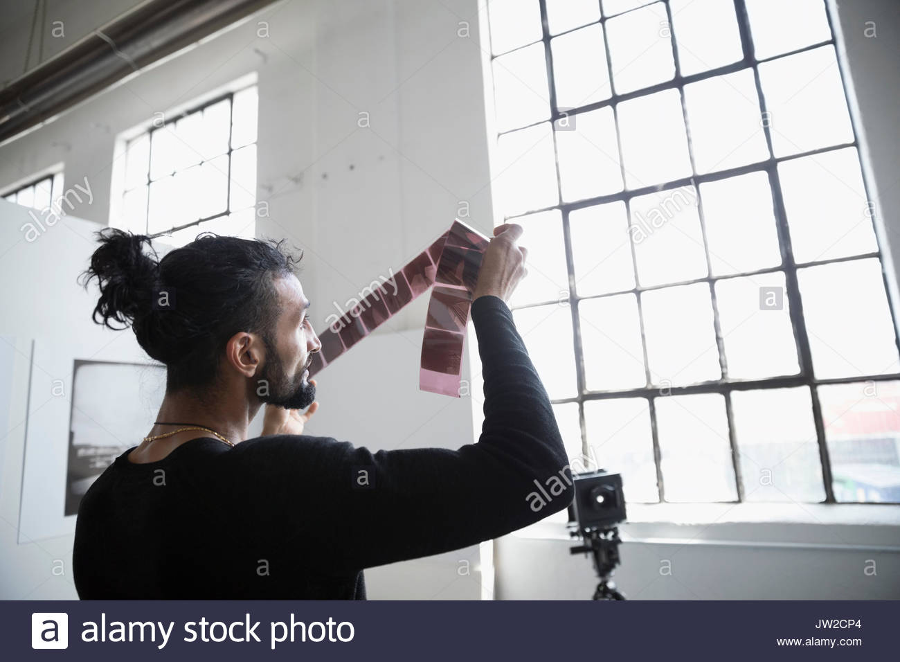 Male photographer examining photograph negatives in art studio - Stock Image