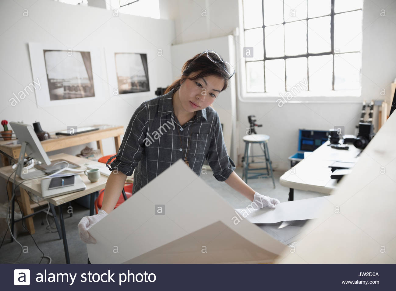 Focused female photographer reviewing large photography print in art studio - Stock Image