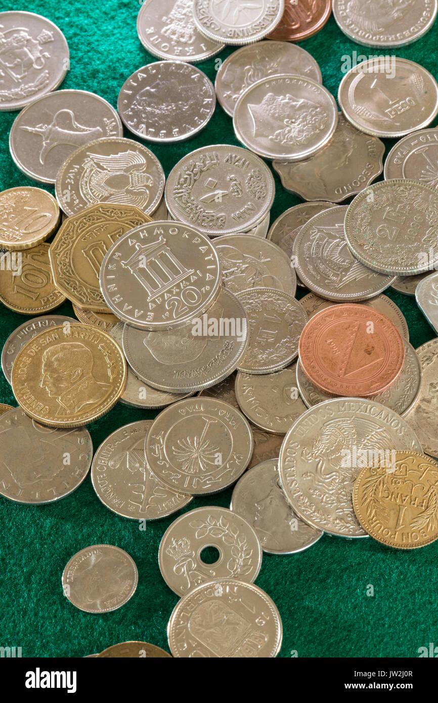 Multiple International Coins - Stock Image