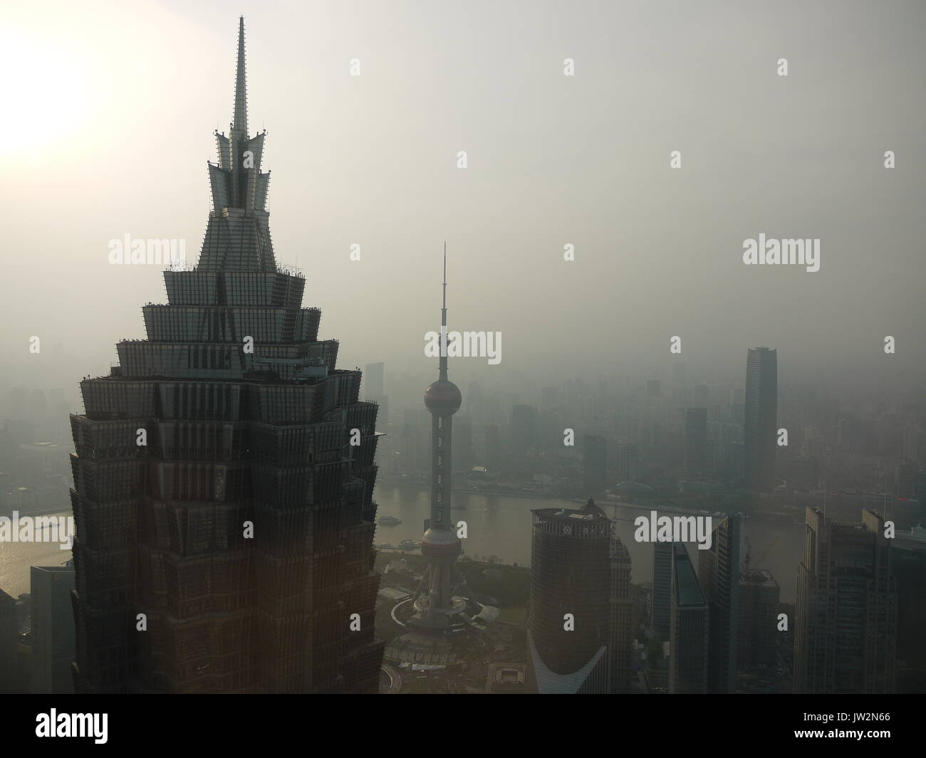 Pollution of air is highly visible from Buildings of Pudong in Shanghai Stock Photo