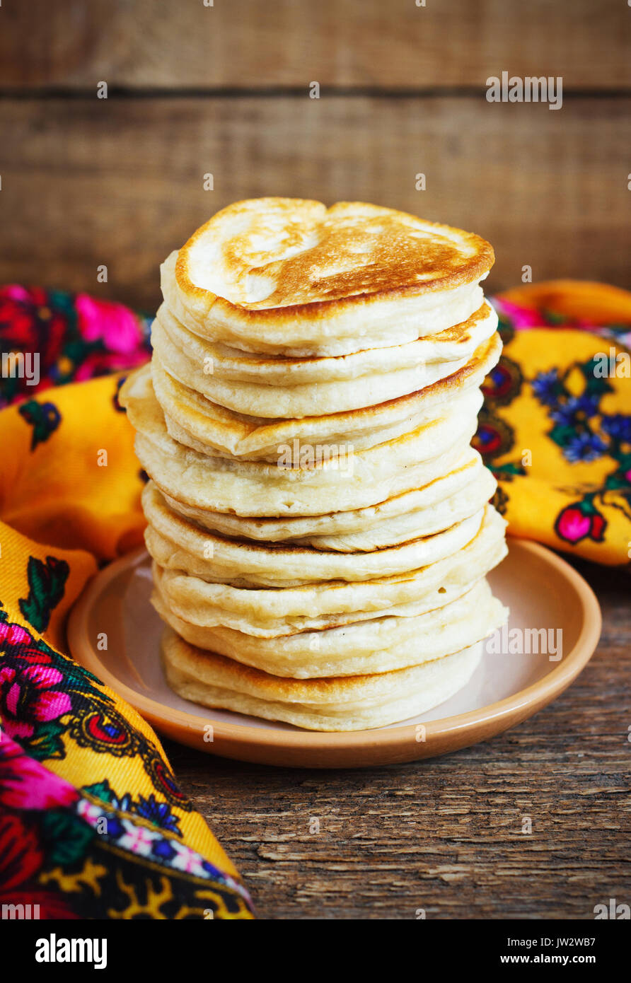 Staple of yeast pancakes, traditional for Russian pancake week rustic - Stock Image