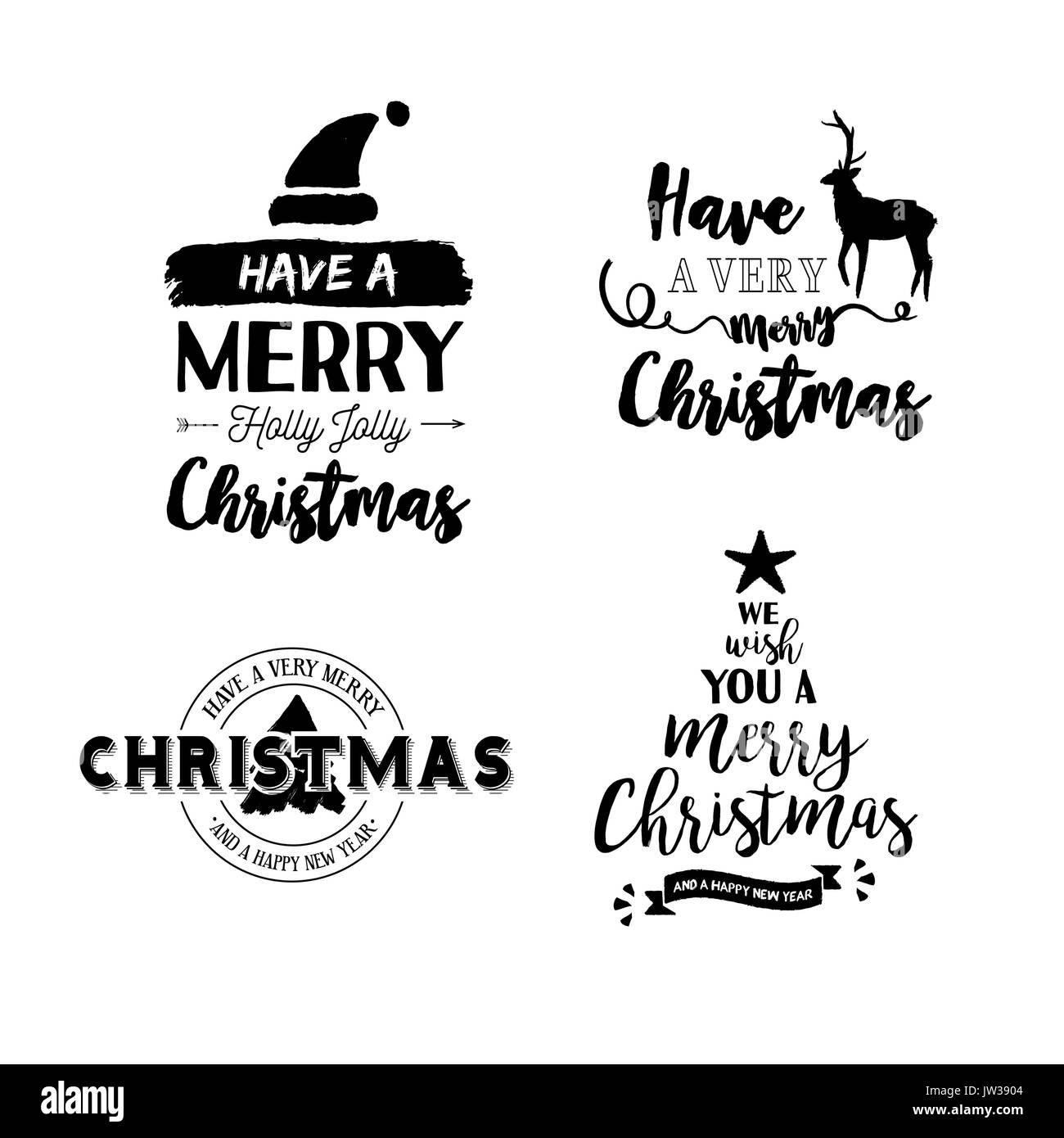 merry christmas text quote set calligraphy lettering design for stock vector image art alamy https www alamy com merry christmas text quote set calligraphy lettering design for holiday image153122260 html